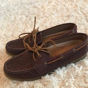 {sperry topsider} leather boat shoes brown maroon